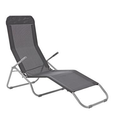 Sun Lounger 1Px Veia Origami 60%textilene 40%steel 60% H 104cmxL137cmxW61cm 2 Seating Positions Dark Grey