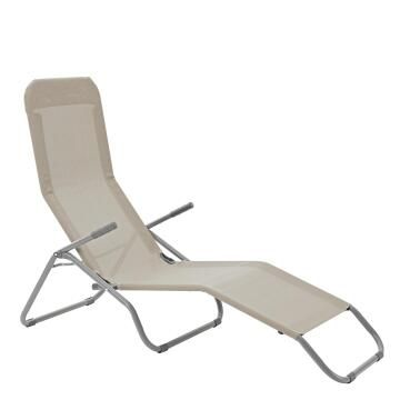Sun Lounger Lowest Price Veia Origami Steel and Textylene Light Grey