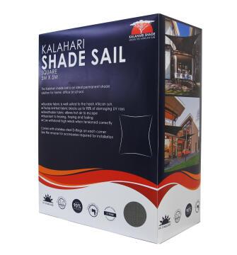 Shade Sail KALAHARI 5 m X 5 m Square Charcoal