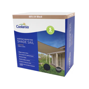 Shade Sail COOLAROO 3.6m Square Graphite