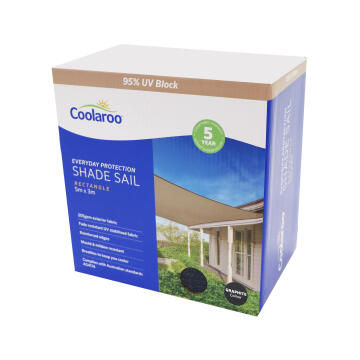Shade Sail COOLAROO 5 m X 3 m Rectangular Graphite
