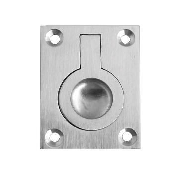 Door pull flush ring satin nickel 38x50mm euro brass