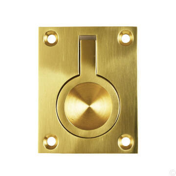 Door pull flush ring brass 38x50mm euro brass