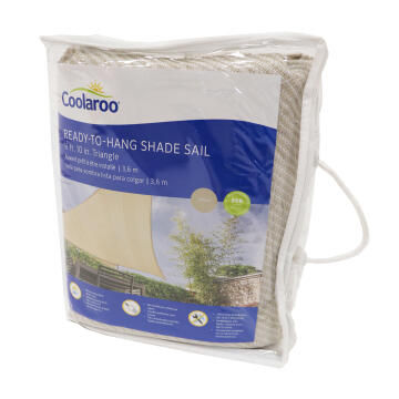 Shade Sail COOLAROO Triangular Ready to Hang 3.6 m Pebble