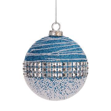 CHRISTMAS BALL DIAMOND BLUE 7.8CM