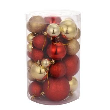 CHRISTMAS BOX RED/GOLD SET 46 3-8CM