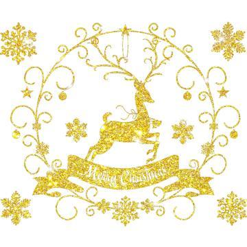 CHRISTMAS STICKER ROLL DEER GOLD 72X54CM