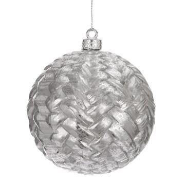 CHRISTMAS BALL SILVER 9.8CM