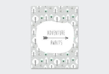 WALL ART PRINT ADVENTURE AWAITS 23X30CM