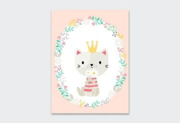 WALL ART PRINT WREATH KITTEN 23X30CM
