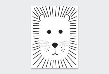 WALL ART PRINT LION 23X30CM