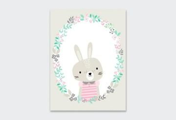 WALL ART PRINT WREATH BUNNY 23X30CM