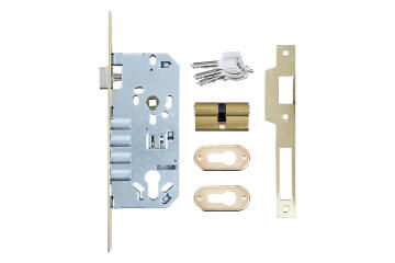 mcm latch & 4-pin deadlock brass 50mm