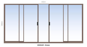 Sliding Door Aluminium Center Opening (OXXO) Bronze-w4190xh2090mm