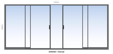 Sliding Door Aluminium Center Opening (OXXO) Charcoal-w4790xh2090mm