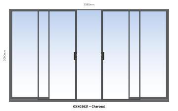 Sliding Door Aluminium Center Opening (OXXO) Charcoal-w3590xh2090mm