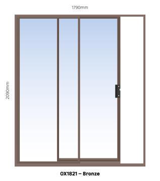 Sliding Door Aluminium 1 Side Opening (OX) Bronze-w1790xh2090mm