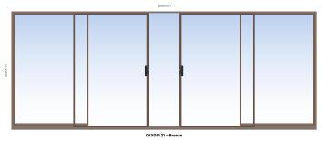 Sliding Door Aluminium Center Opening (OXXO) Bronze-w5390xh2090mm