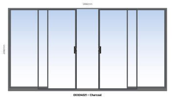 Sliding Door Aluminium Center Opening (OXXO) Charcoal-w3990xh2090mm