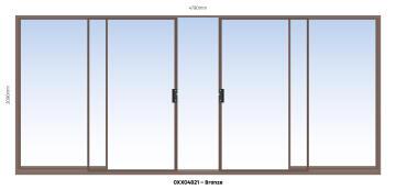 Sliding Door Aluminium Center Opening (OXXO) Bronze-w4790xh2090mm