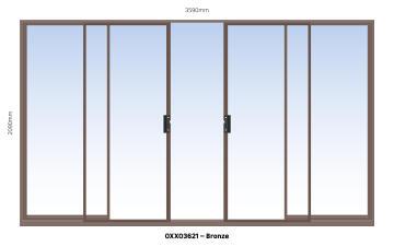 Sliding Door Aluminium Center Opening (OXXO) Bronze-w3590xh2090mm