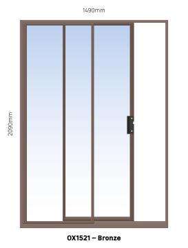 Sliding Door Aluminium 1 Side Opening (OX) Bronze-w1490xh2090mm