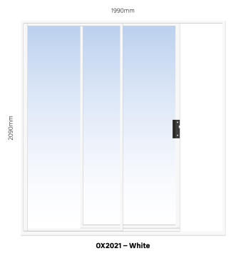 Sliding Door Aluminium 1 Side Opening (OX) White-w1990xh2090mm