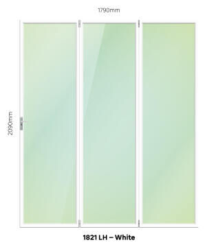 Folding Door Aluminium 3 Panel White-Left Hand Opening-Open out-w1790xh2090mm