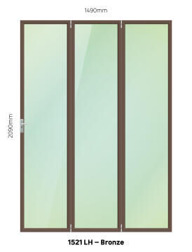 Folding Door Aluminium 3 Panel Bronze-Left Hand Opening-Open out-w1490xh2090mm