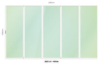 Folding Door Aluminium 5 Panel White-Left Hand Opening-Open out-w3590xh2090mm