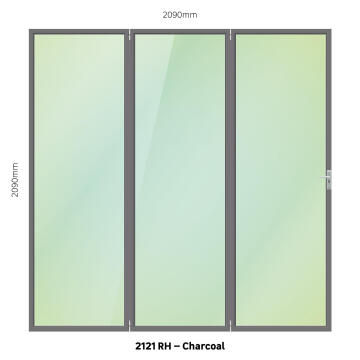 Folding Door Aluminium 3 Panel Charcoal-Right Hand Opening-Open out-w2090xh2090mm