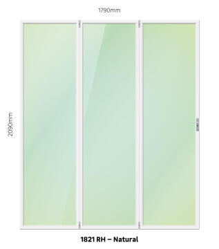 Foldable Door Aluminium 3 Panel Natural-Right Hand Opening-Open out-w1790xh2090mm