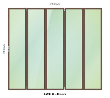 Foldable Door Aluminium 5 Panel Bronze-Left Hand Opening-Open out-w2390xh2090mm