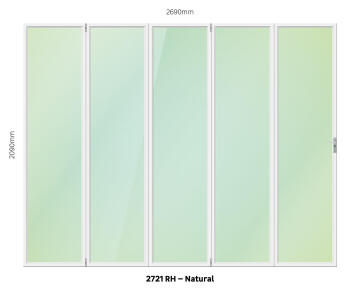 Folding Door Aluminium 5 Panel Natural-Right Hand Opening-Open out-w2690xh2090mm