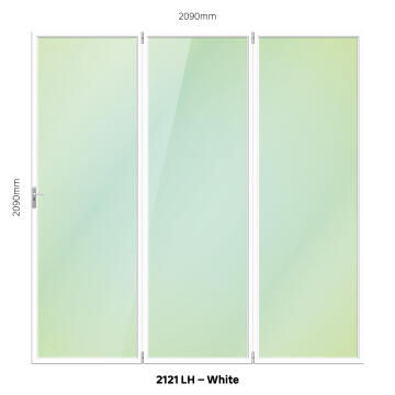 Folding Door Aluminium 3 Panel White-Left Hand Opening-Open out-w2090xh2090mm