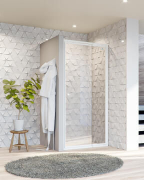 Shower corner entry pivot square el blanco white extandable 70 - 85CM