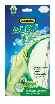 Flocklined household gloves ADDIS Aloe fresh medium