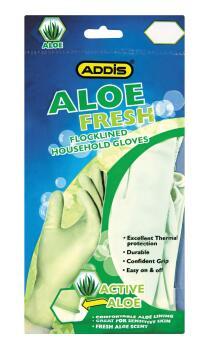 Flocklined household gloves ADDIS aloe fresh large