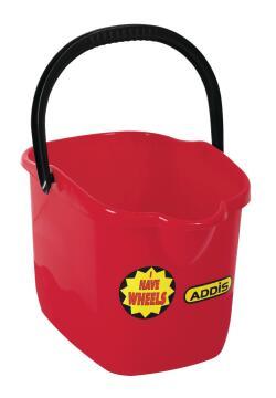 Rectangular bucket ADDIS red with wheels