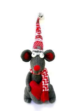 SITTING MOUSE WITH LOVE(H),RED & GREY