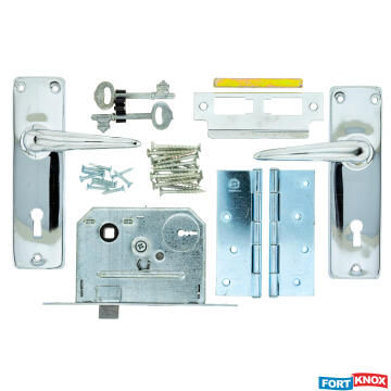 Lockset with handles key entry chrome plated 2 lever with hinges fort knox