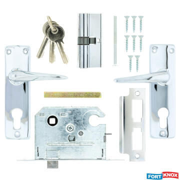 Lockset with handles cylinder chrome plated 70mm fort knox