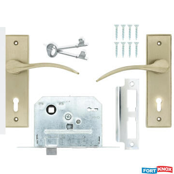 Lockset with handles key entry iron satin nickel 2 lever fort knox