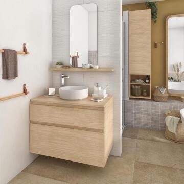 Sensea Basin Cabinet wall hung 2 drawer 48cm depth x 90cm wide x 62,5 height Natural Oak Veneer, soft close slider (Cabinet only)