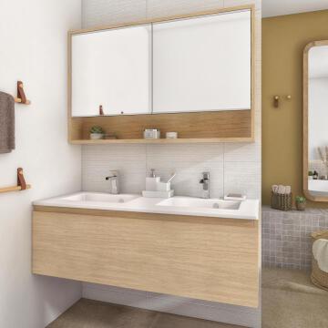 Sensea Basin Cabinet wall hung 1 drawer 48cm depth x 120cm wide x 40,5 height Natural Oak Veneer (Cabinet only)