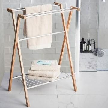 Towel stand bamboo and chrome SENSEA