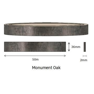 Edging PVC Roll Monument Oak-2mm thick-w36mmxl50m