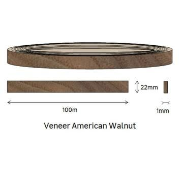 Edging Veneer Roll American Walnut-1mm thick-w22mmxl100m