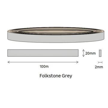 Edging PVC Roll Folkstone Grey-2mm thick-w20mmxl100m