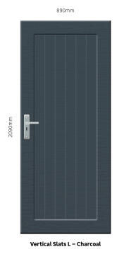 Service Door PVC Solid Charcoal Laminated Vertical Slats Left Hand Opening-w890xh2090mm
